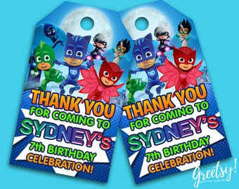 Pj Masks Thank You Tags, Pj Masks Birthday Favor Tags, Pj Masks Party Tags, Pj Masks Tags, Pj Masks Printable Supply, Pj Masks Label Tags
