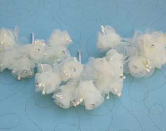 Ivory Rhinestone Flowers - 3 bundles 18 buds - hair bows clip headband boutonniere pin - wedding, bridal, party, bridesmaids