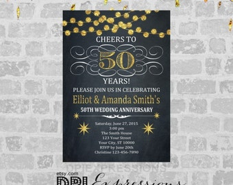 Golden Wedding Anniversary Invitation, Printable 50th Anniversary Invite, Chalkboard Invitation, Gold (Digital) Glitter Anniversary Invite