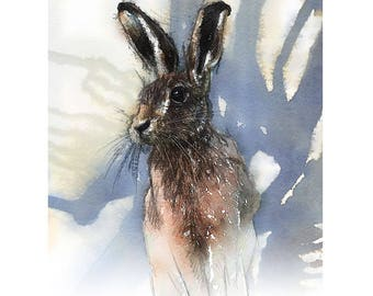 Brown hare alert | Limited edition fine art print from original drawing. Free shipping.