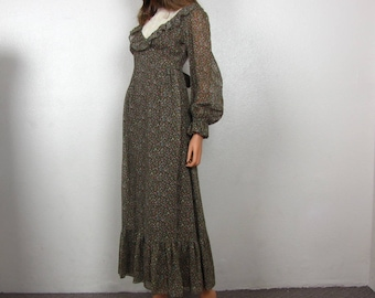 Vintage Prairie Maxi Dress ~ 1970's ~ Boho ~ Brown Calico ~ Long Sleeves ~ Candi Jones ~ Small