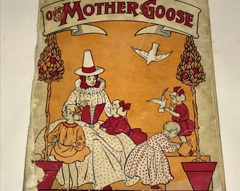Vintage 1920s Mother Goose Alphabet and Nursery Rhymes Paperback book
