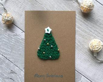 Christmas tree card, Miniature Christmas tree card, Holiday cards, Knitted christmas tree card, Unique Christmas cards, Modern Christmas