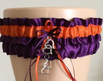 Plum Purple and Orange Wedding Garter Set, Bridal Garter Set, Keepsake Garter,
