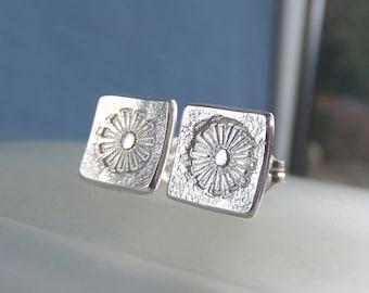Sterling Silver Stud Earrings - FLOWER SQUARES 4 - Dandelion - Little Flowers Studs - Handstamped Textured Metalwork