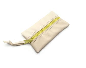 Leather Coin Purse. Cream leather