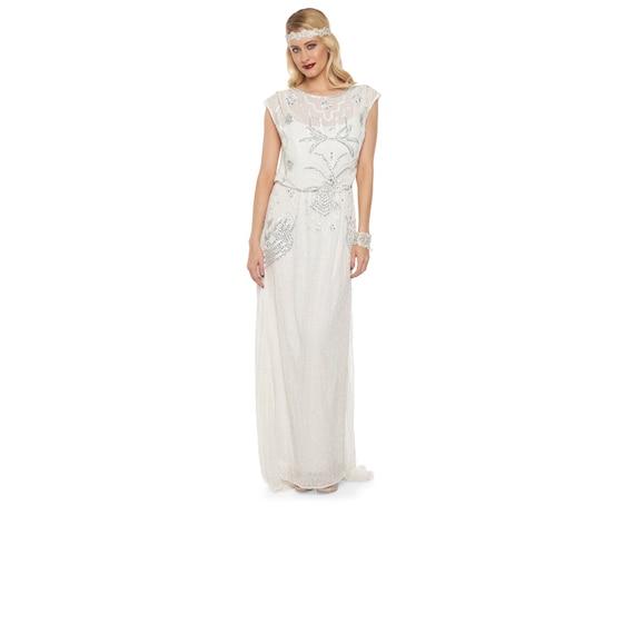 Isla Off weiß Art-Deco-böhmische Hochzeit Prom Maxi Kleid