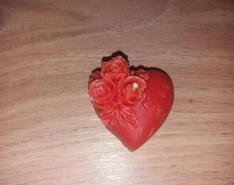 Candle heart with roses from beeswax, bee candles, tea light, Heart, Valentine, Rosenherz, Body candle, heart with roses