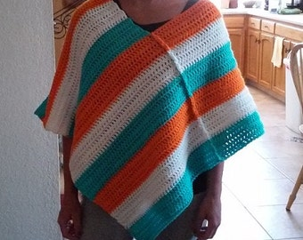Aqua, Orange and White Crochet Poncho  - Great for Miami Dolphins NFL Football Fans