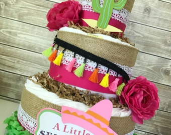 Mexican Baby Shower Centerpiece, A Little Senorita is in Her way, Spanish Baby Shower Diaper Cake, Fiesta Baby Shower