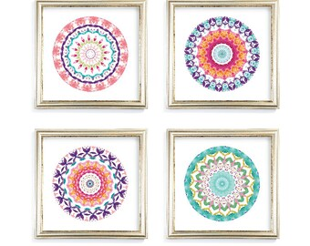 Mandala Art Print - Mandala Wall Art - Set of 4 prints - 8x8 - 10x10 - 12x12 - Frames Not Included