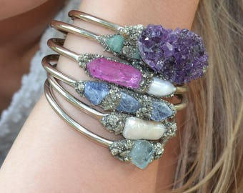 Birthstone Bracelets, Raw Birthstone Jewelry, Gemstone bracelets, Opal, Citrine, Blue Topaz, Garnet, Amethyst, Aquamarine, Herkimer Diamond