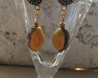 Raku Bead Pierced Earrings