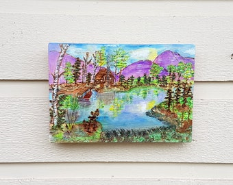 "Cabin ""at the Lake"" pyrography (ART ONLY) and watercolors, wood burned on Pine wood, painted mountain, cabin, lake landscape, cottage life"