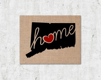 """Connecticut (CT) """"Love"""" or """"Home"""" Burlap or Canvas Paper State Silhouette Wall Art Print / Home Decor"""