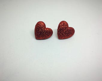 Glittery red heart shaped earrings - Sparkly red earrings - Valentine's Day - Nickel Free earrings - Gift under 10 - Gift for her - Studs