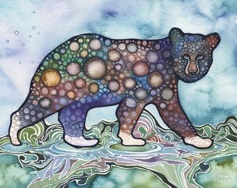 Spirit Paws 7 x 5 print of watercolour Black Bear with magical White Paws, Kermode Spirit Bear, animal totem, storybook watercolor art
