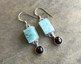 Natural Raw Amazonite and Garnet Earrings, 925 Sterling Silver Earrings, Raw Crystal Earrings, Healing Earrings, Natural Stone Earrings