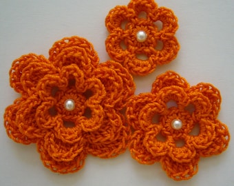 Orange Crocheted Flowers - Pumpkin With a Pearl - Cotton Flower Appliques - Cotton Flower Embellishments