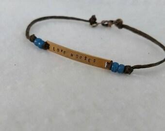 Handstamped horse bracelet