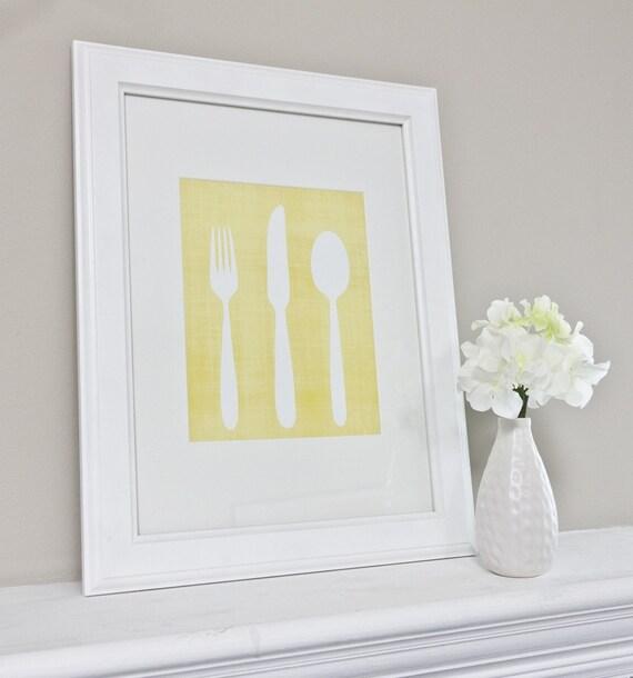Knife Fork and Spoon Utensils Art Print / Kitchen Art