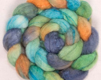 Hand dyed roving, Extra fine Merino, Tops,  Tussah Silk, hand spinning, Felting projects, felting material, hand dyed top, spinning braid,