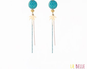 Necklace with coral dots pattern Palm tree Stud Earrings / turquoise resin