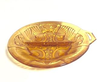 Vintage Amber glass divided dish