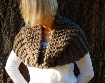 Outlander Gabaldon Scarf /Outlander Inspired Chunky Textured Knit Large Cowl  / THE APPLEGATE / Barley
