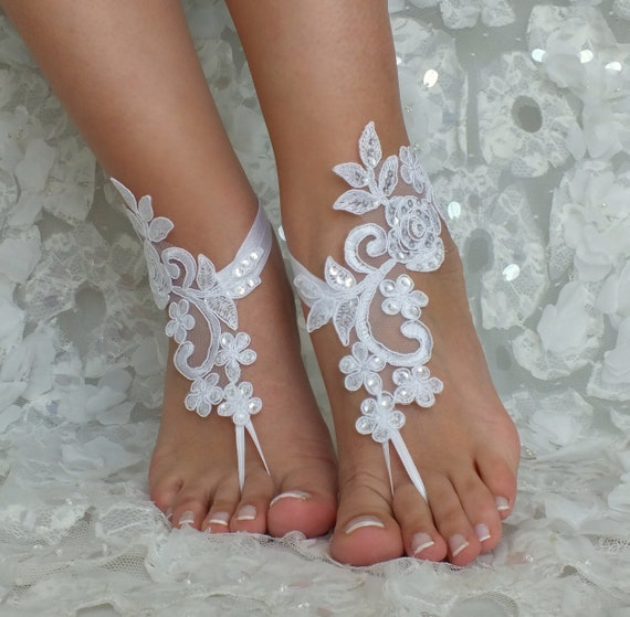 9a297df26616 Beach white wrist or Flexible barefoot sandals lace ivory Bridal barefoot  sandals wedding lace sandals sandals ...