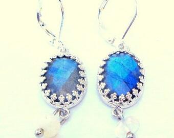 Natural Blue, Labradorite, Welo Opal, Drop Earrings,  Sterling Silver, Checkerboard Faceted Labradorite,Ladies Gift,Gemstone Treasures, OOAK