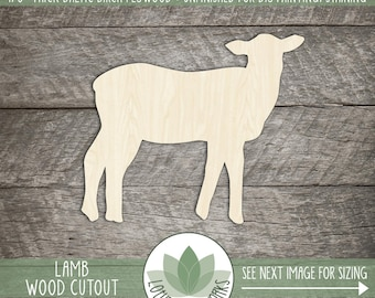 Lamb Wood Cut Shape, Unfinished Wood Lamb Laser Cut Shape, DIY Craft Supply, Many Size Options, Blank Wood Shapes