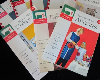 8 SINGER SEWING LIBRARY Resource Books Vintage 1950s 1960s Aprons Slip Covers Bedspreads Draperies Patterns Zippers Seams Collars How To