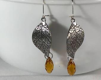 Topaz/Amber Leaf Earrings