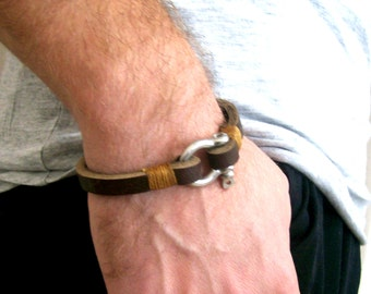 Mens Bracelet, Brown Leather Bracelet, Brown Mens Bracelet, Leather Bracelet, Mens Jewelry, Unique Gift