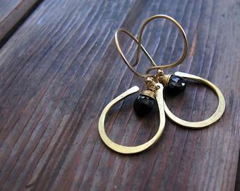 Seed Petal - Brass Stone Earrings - Spinel Earrings - Artisan Tangleweeds Jewelry