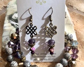Celtic Knot Purple Jasper Earrings Gemstone Bohemian
