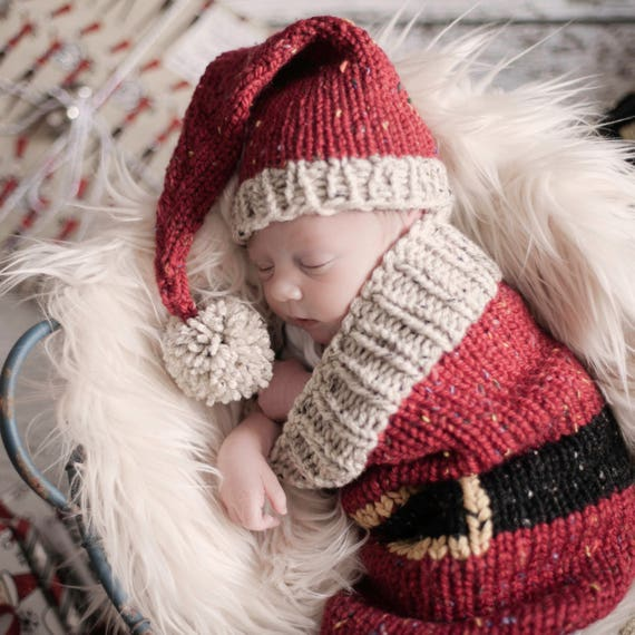 ... sweden loom knit santa christmas cocoon and santa hat pattern. make  this newborn swaddler and ... ae95d70f364