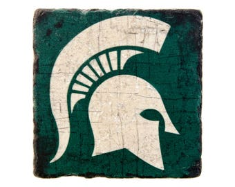 Michigan State, Michigan State Tile, College Coaster, Green and White, College Tile, Man Cave, Iconic Symbol, Housewarming Gift, Stone
