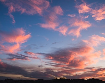 Pink Clouds Over Sutro Tower In San Francisco