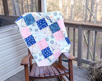 Baby Girl Quilt- Navy and coral quilt, ready to ship quilt, modern baby girl quilt, Coral crib quilt, Blue crib quilt, Rabbit crib quilt