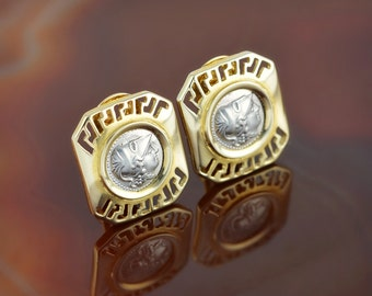 Athena greek key 14K gold clip on earrings, Athena earrings, ancient coin earrings, 14K gold clip on earrings, greek key clip on earrings