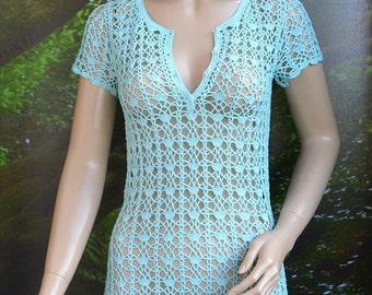 blue Crochet tunic, tunic crochet, handmade dress, beach cover up, romantic feminine, bridal accessories, crochet summer, lace beach dress