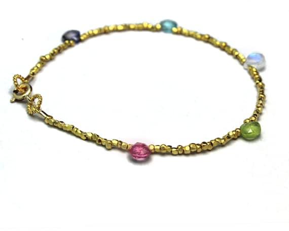 Beaded Gemstone Bracelet. Simple Briolette Stacking Bracelet. Gold Fill or Sterling Silver. B-1916