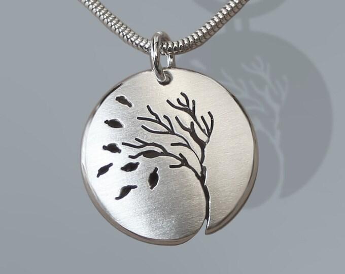 Autumn Pendant, Sterling Silver Jewellery, Silver Pendant, Autumn Confetti.