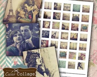 Paris Dreams - 1x1 Digital Collage Sheet Printble Download for Pendants Magnets Paper Scrapbook Decoupage Paper Calico Collage Graphics