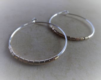 Silver Gold Hoops, Mixed Metal Earrings, Two Tone Earrings, Medium Hoops, Mixed Metal Jewelry, Gift for Her