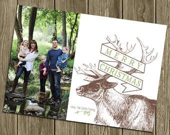 Photo Christmas Card - Elk Banner