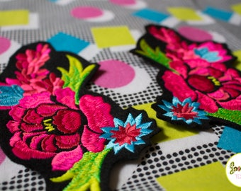 Beautiful Floral Patch -  Peony - Made to  Order - 2017 Special - Embroidered Duo