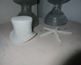Westmoreland English Hobnail milk glass Top Hat,Match holder ,relish dish,toothpick holder,Swan Sweet Glass Stand